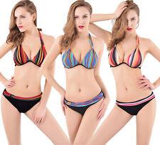 Polyester Halterneck Striped Swimwear Briefs for Women