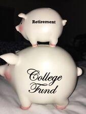 Retirement College Fund PIGGY Bank 2006 Pink Baby Ceramic Porcelain Figural PIG