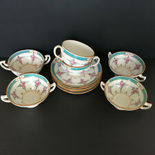 Minton China Persian Rose Cups, Soups, Saucers Older Back Stamp 11 Pieces