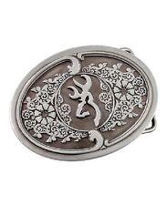 Browning Buckmark Scroll Silver Plated Belt Buckle