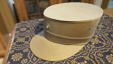 Vintage Charles De Gaulle Style HAT, NRA Button Pin, Khaki Brown