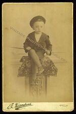 Antique Cabinet Card Young Boy In Sailor Suit E Kamboni Studio Pola Austria 1892