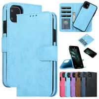 F iPhone 12 Pro Max 11 8 7 6+ Detachable Magnetic Leather Flip Wallet Case Cover