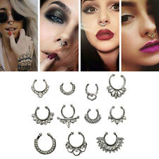 1Set Unisex Fake Septum Clicker Nose Ring Non Piercing Hangers Clip On JewelryVV