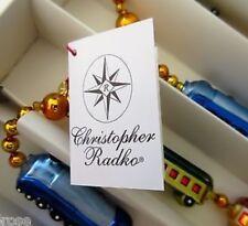 CHRISTOPHER RADKO HAND BLOWN GLASS BEAD CHRISTMAS EXPRESS TRAIN GARLAND  NWTA