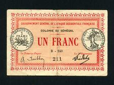 Senegal:P-2b,1 Franc,1917 * COLONIE DU SÉNÉGAL * VF *