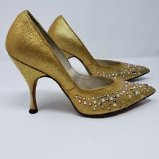 Vintage Handfashioned For La Rose Stiletto Heels Gold w/ Sequins Orig Box 81/2 M