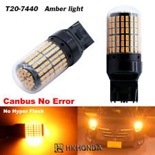 2Pcs Yellow T20 Light Bulbs Car Turn Signal LED Wedge 7440 Super Bright 12V