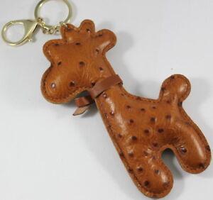 Giraffe Brown Keychain Keyring Handbag Purse Kid School Genuine Leather Zoo Bag