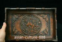 "13"" China Huang Huali Wood Kylin Chi-lin Qilin Tray Salver Saucer Pallet Statue"