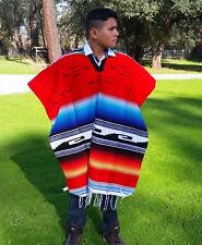Mexican Poncho Serape / Sarape Red w/ Multi-Colored Stripes, Saltillo Poncho