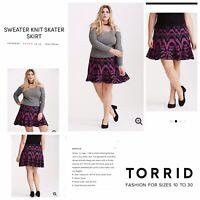 Torrid 2 Black/Pink Sweater Flare Plus Size Skirt NWT