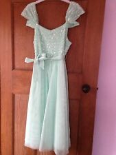 Monsoon Prom Dress, turquoise three quater length.