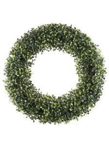 Pure Garden 19 Inch Boxwood Wreath Indoor Outdoor Artificial Plant