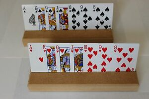 2 x HOME CRAFTED WOODEN PLAYING CARDS HOLDERS - FREE UK POST & PACKING