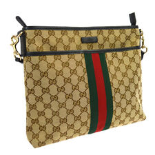 GUCCI GG Shelly Line Cross Body Shoulder Bag Brown Canvas Leather Auth AK38407b
