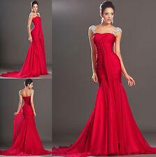 Elegant Red New Custom Made Chiffon Formal Long Mermaid Prom Evening Dress