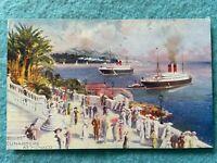 Cunarders at Monaco Vintage Postcard