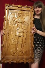 "Icon St Michael the Archangel. 3D Art Orthodox Wooden Carved picture. 41"" size."