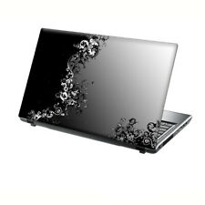 "TaylorHe Laptop Skin 13-14"" Vinyl Sticker Decal Black & White Flowers Vines"