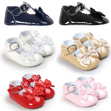 Baby Girl Patent Crib Shoes Infant Skimmer Mary Jane Shoes Newborn to 18 Months