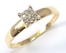 NICE 9K SOLID YELLOW GOLD 7 DIAMONDS RING SIZE 7