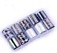10 Holographic Nail Foils Starry Sky Glitter Foils Nail Art Transfer Sticker Set
