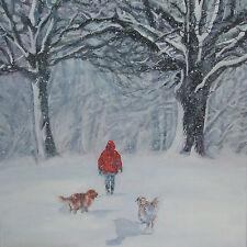 "Golden Retriever dog walking winter snow Canvas Print of painting Lshep 8x8"""