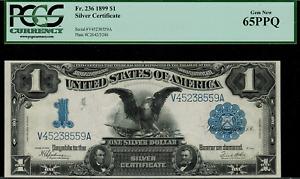 "1899 $1 Silver Certificate FR-236 - ""Black Eagle"" - Graded PCGS 65PPQ - Gem New"