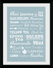 Tea Types Home Décor Kitchen Food Framed Poster Print Photo 40x30cm | 12x16 in