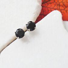 Onyx schwarz rund gothic modern edel Ohrstecker Ohrringe 925 Sterling Silber neu