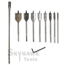 "New 9-Pc Flat Spade Wood Bit Tool Set 1/4"" 3/8""1/2""5/8""3/4""7/8""1""&1- 1/4"""