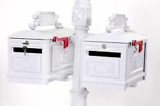 Locking Double WHITE Mailbox Premium Secure Cast Aluminum Better Box Mailboxes