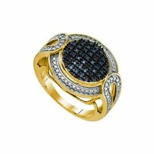 .24 Carat 18k Yellow Gold Over Sterling Silver Blue Diamond Micro Pave Ring SZ 7