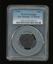 1793-P Liberty Cap Half Cent 1/2C PCGS Genuine Enviromental Damage GOOD Details