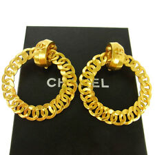 """Authentic CHANEL Vintage CC Logos Hoop Earrings Gold 2.2 - 2.5 """" Clip-On V04257"""