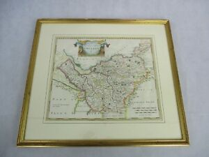 Cheshire Map of Chester by Rob Morden  c1695 Copperplate Engraving Hand Painted