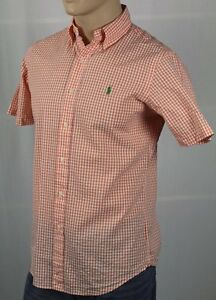 Ralph Lauren Orange Seersucker Checkered Classic Short Sleeve Shirt NWT