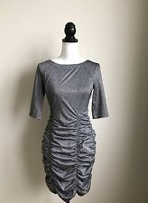 ($98) NWT BCBG GENERATION DRESS SIZE M DARK SILVER METALLIC TIGHT OPEN BACK GRAY