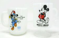 Vintage Mickey Mouse Milk Glass Cups Mugs Marching Mouse Club Footed Lot of 2