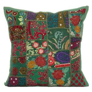 "Embroidered Cushion Cover Cotton Pillow Cushion Case Throw Sofa Decor Square 18"""