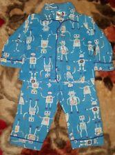 BOYS Sz 1 blue orange green & white ALLSORTS winter pajamas COMFY PJs! ROBOTS!