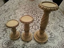 Set of 3 Classic Traditional Carved Pillars Candle Stands mixed wood material