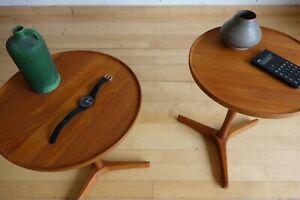 HANS C ANDERSEN DANISH TEAK SIDE PEDESTAL WINE TABLES MID CENTURY MODERN MOBLER