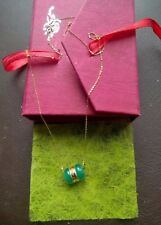Superb Chain New in 18k Yellow Gold Pendant Jade Green & Gold 24 Carat