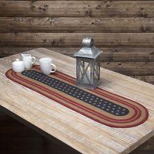 "LIBERTY STARS FLAG Jute Table Runner Americana Primitive Indigo Stencil 13 x 36"""