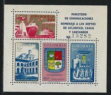 "1961 Colombia Scott #C410 - Air Mail ""Extra Rapido"" Souvenir Sheet of 4 - MNH"