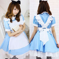 Alice in Wonderland Maid Women Girl Blue Dress For Halloween Cosplay Costume