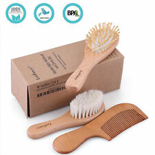 Wood Hair Comb Wool Bristle Brush Head Massage For Baby Kids Toddlers
