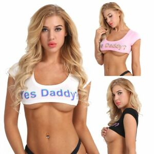Women's Crop Top T-Shirt Yes Daddy Letter Print Stretch Tees Camisole Bustier